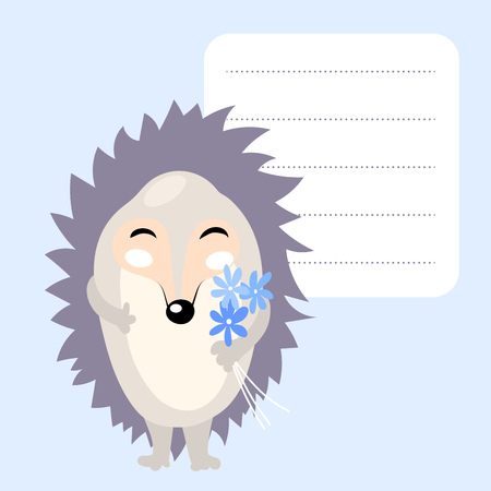cute cartoon hedgehog with blue flowers and frame for text. Template for school accessories, scrapbook,cards, notebooks, diary, decals Illustration