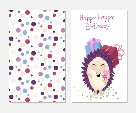 Stylish Happy Birthday Card In Cute Style With Cartoon Hedgehog