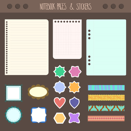 Set of pages notebook with stickers, colored tape, staples. Template for school accessories