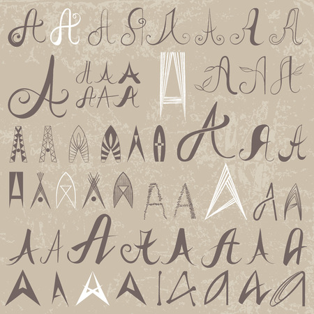 varied: Vintage Set of 50 varied hand drawing letters A on old paper background. Can be used as elements of icon design Illustration