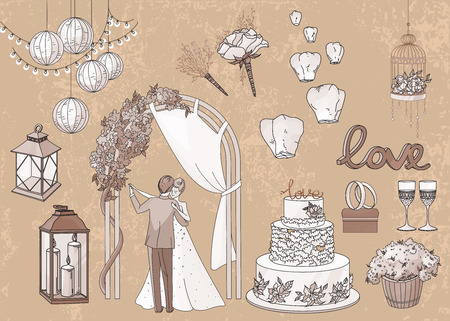 Vintage set van de hand getekende bruiloft elementen - koord van lichten, lantaarns, bloemen, kaarsen, cake, ringen, glazen, bruid en bruidegom in pastel tinten brawn