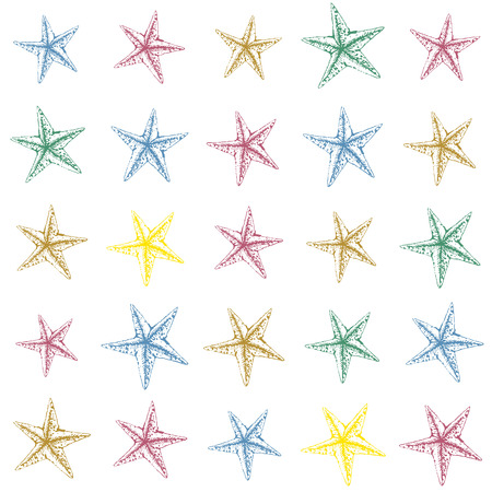 mollusk: Colorful hand drawn sketched starfish decoration pattern. Funny design.
