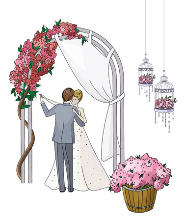 flowered: Bride and groom. Newlyweds dancing couple in a romantic atmosphere under a flowered arch.