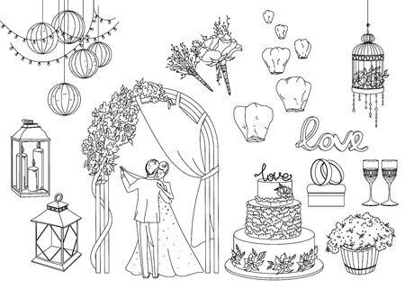 attributes: Big set of wedding decorative elements and attributes in linear sketch.