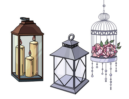 attributes: Set of wedding or interior decorative elements and attributes in colour sketch.