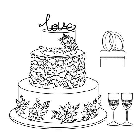 attributes: set of wedding decorative elements and attributes in linear sketch.