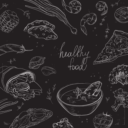 hearty: Collection of hand-drawn food on blackboard. Healthy and Hearty food. Organic restaurant background template on chalkboard.