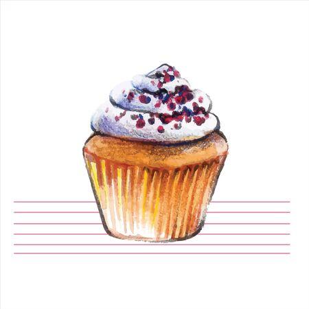 Watercolor cupcakes. Hand drawn, retro style. Vector illustration.