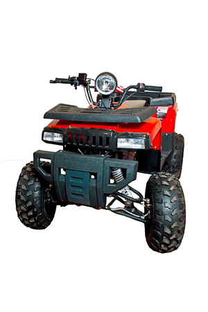 Red a-tv quad bike isolated, closed up view