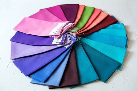 A Group of Twisted Colored Coton Fabric, Textile Palette, Holiday, Interior or swatches for stylist color typing.