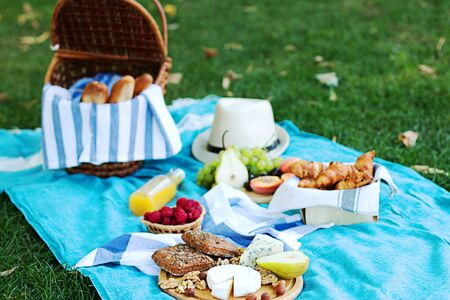 Summer picnic on the  blue plaid  in the morning. Some snacks, fresh grapes and cheece and bread are on the wooden plate. Stock Photo