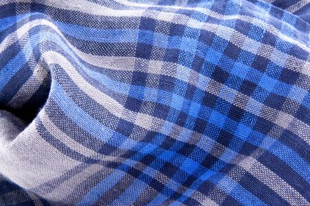 Blue check textile or background for site Stock Photo