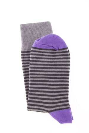 nonslip: Striped purple sock isolated on white background