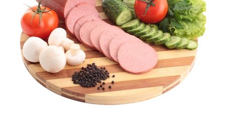 whitem: Sliced sausage Stock Photo