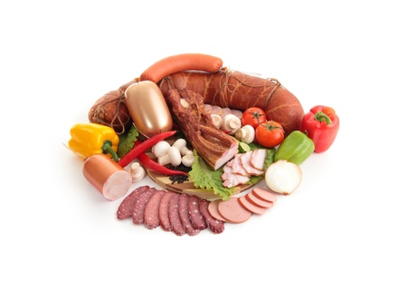 A composition of meat and vegetables photo