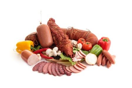 sausage pot: Various kinds of meat Stock Photo