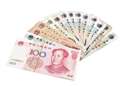 yuan: Types of Chinese banknotes over white background