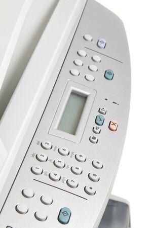 Modern digital printer on the white background photo