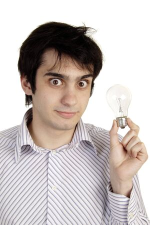young man coming up with an idea or solution photo