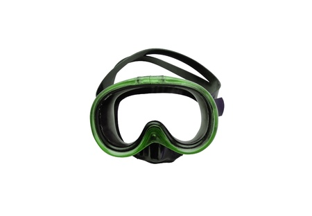 perl: green diving mask isolated on white background