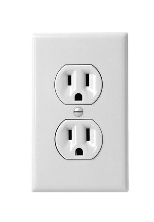 electric socket: North American white electric wall outlet receptacle