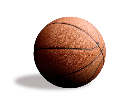 baloncesto: Bola de cesta naranja, foto sobre el fondo blanco Foto de archivo