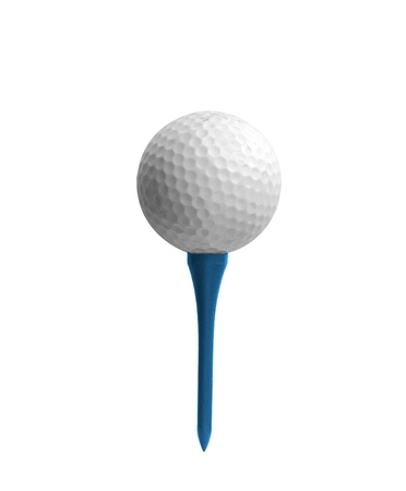 Golf ball on a tee isolated on white photo