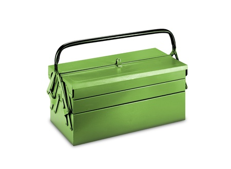green mechanic's basic tool box with set of spanner Stock Photo - 9480032