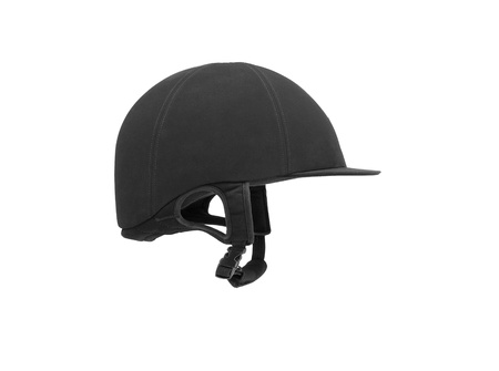 Black ridding cap for horse riders isolated on white photo