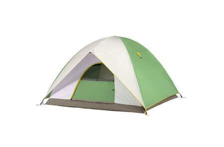 an isolated camping tent green and white in a white background Stock Photo - 9586845