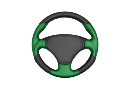 Isolated steering wheel of a car photo