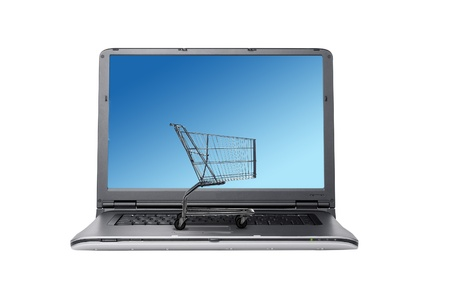 Shopping Cart and Computer keyboard, concept of online shopping Stock Photo - 9586551