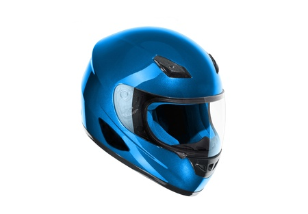protective helmets: blue, shiny motorcycle helmet Isolated on white background