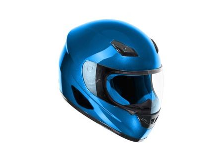 casco de moto: casco de motocicleta azul, brillante aislado sobre fondo blanco