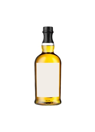 Full whiskey bottle isolated on white background photo