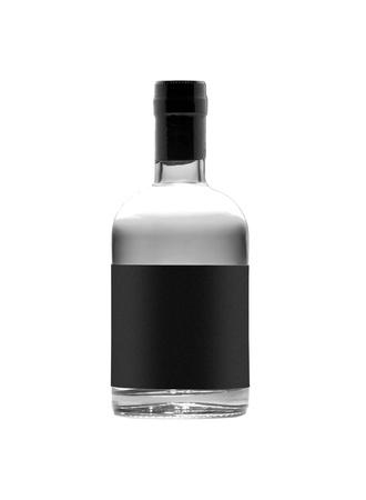 vodka: black bottle of whiskey isolated on white background