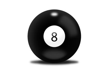 eight ball: Black billiard ball number eight Stock Photo