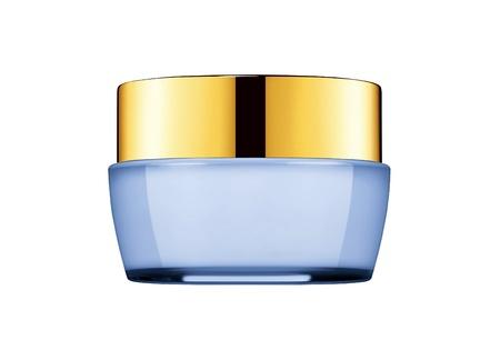 crème: vasca con una crema per il viso con un coperchio blu