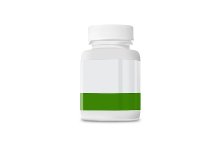 vitamins pills: White medicine bottle closed