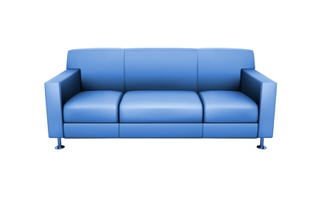 Blue sofa on white background photo