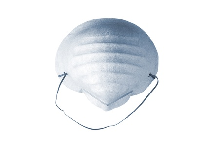 polvo: Anti polvo mascarilla para el cuidado de la salud aislado en blanco
