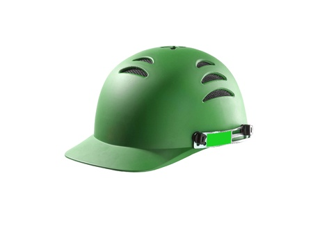 head protection: green Hard Hat with clipping path