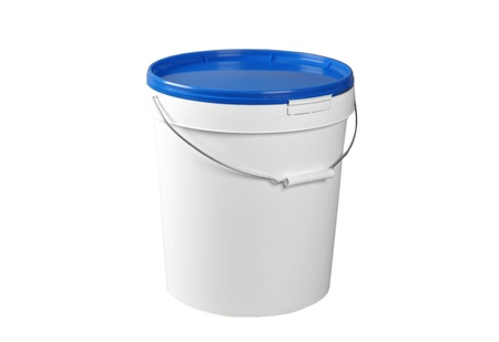 buckets: Closed white plastic container Stock Photo
