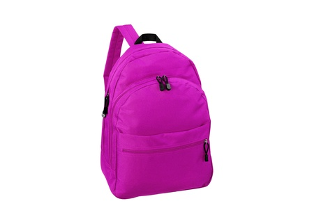 school backpack: Mochila escolar Rosa aislado en blanco Foto de archivo