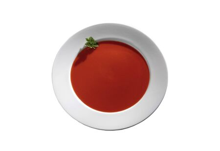 Tomato soup isolated against a white background Stockfoto