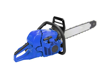 Chainsaw isolated on the white background Stock Photo