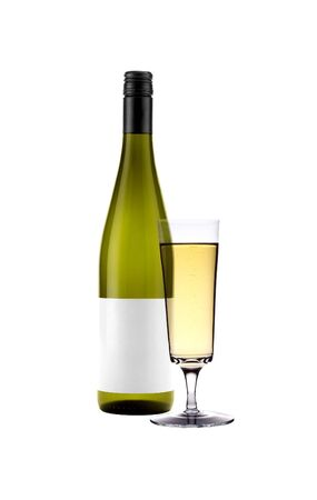 Full white wine glass goblet and bottle isolated