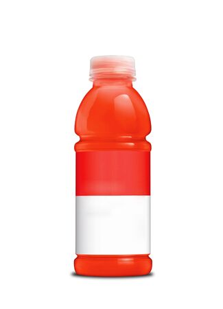 carotene: Carrot juice bottle on a white background Stock Photo