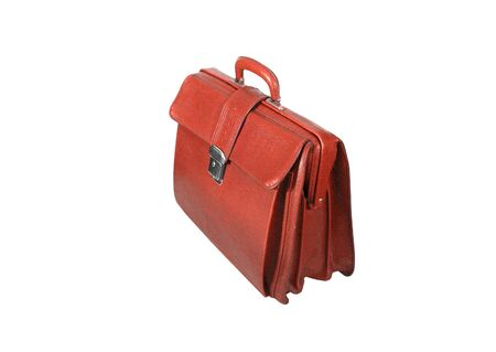 red business briefcase isolated on white background. photo