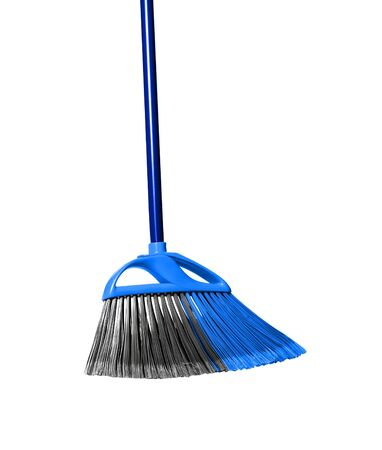 plastic blue broom isolated on white background. photo